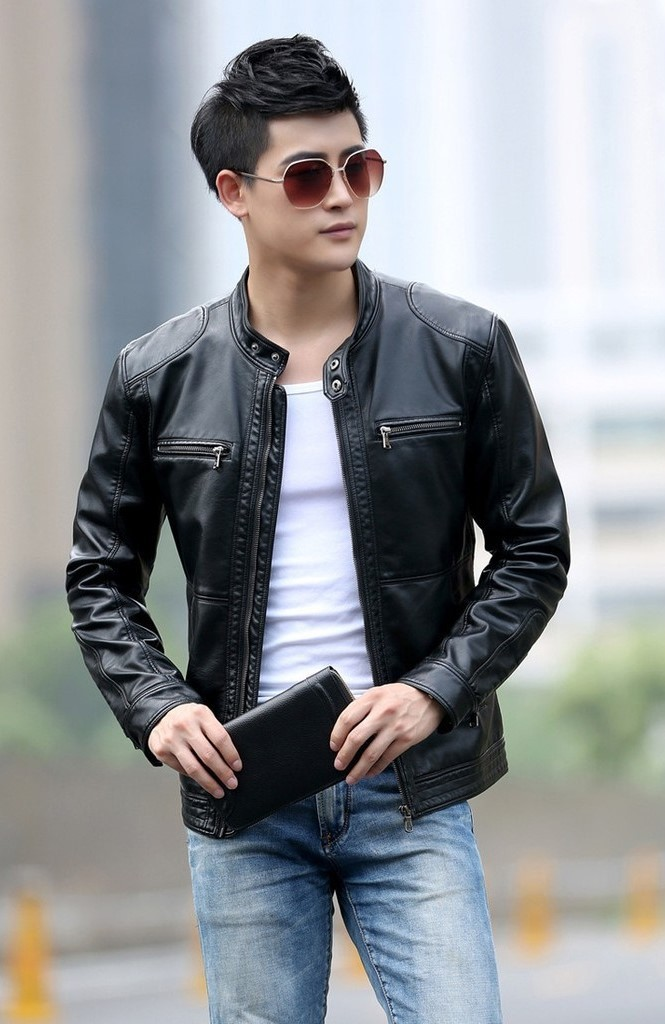 Stand Collar Coats Leather Jackets