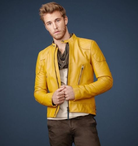 mustard yellow leather jacket
